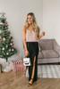 Martini Bar Slit Velvet Pants - Black  - FINAL SALE