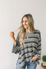 Darby Wide Sleeve Striped Pullover - Charcoal Multi  - FINAL SALE