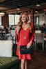 V-Neck Peplum Sleeve Shift Dress - Burgundy - FINAL SALE