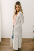 Soft Brushed Striped Duster Cardigan - White/Black  - FINAL SALE