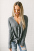 Ansleigh Button Down Knot Thermal Top - Charcoal  - FINAL SALE
