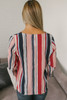 Layered Flare Sleeve Striped Knot Top - Red Multi  - FINAL SALE