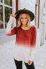 Love at Twilight Ombre Boatneck Sweater - Wine/Oatmeal