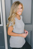 Arielle Sleeve Detail Pocket Tee - Heather Grey  - FINAL SALE