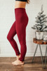High Waist Seamless Fleece Leggings - Burgundy