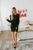 Everly Into the City Eyelash Sweater Dress - Black - FINAL SALE