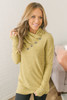Gathered Button Fleece Tunic - Heather Mustard - FINAL SALE