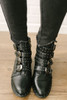 Bad to the Bone Studded Buckle Boots - Black - FINAL SALE