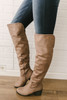Faux Suede Over the Knee Boots - Taupe - FINAL SALE