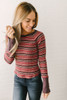 Free People Donna Striped Top - Burgundy Multi - FINAL SALE