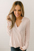 Button Down Striped Surplice Top - Ivory Multi  - FINAL SALE
