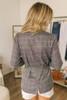 Everly Tie Front Plaid Blazer - Grey Multi - FINAL SALE