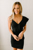 Status Update Asymmetrical Ruffle Dress - Black