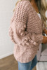 Evergreen House Pom Detail Cardigan - Dusty Pink