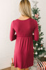 Knot Front Empire Waist Dress - Wine - FINAL SALE