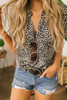 Short Sleeve V-Neck Leopard Crop Top - Beige/Black