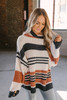 Rising Sun Striped Chenille Turtleneck Sweater - Black Multi -  FINAL SALE