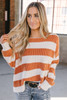 Daybreak Stonewashed Striped Sweater - Brick/Ivory - FINAL SALE