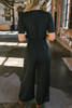 Short Sleeve Tie Front Jumpsuit - Black