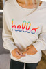 Hello Rainbow Embroidered Sweatshirt - Beige