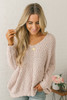 All the Cozy Textured  V-neck Knit Sweater - Pale Pink