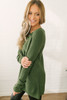 Three Wishes Lace Up Sweater - Hunter Green -  FINAL SALE