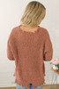 Distressed Fray Edge Sweater - Brick Mauve