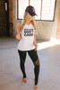 Gym Hair Don't Care Graphic Muscle Tee - White - FINAL SALE