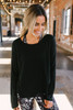 Pullover with Layered Hem - Black - FINAL SALE