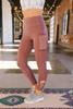 High Waist Criss Cross Detail Leggings - Red Brown
