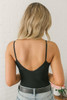 Flatter Me Spaghetti Strap Scoop Ribbed Body Suit - Black