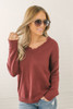 Snow Princess V-Neck Lace Detail Sweater - Burgundy