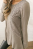 Long Sleeve Knit Top With Lace Contrast - Taupe