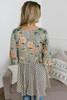 Tie Front Mixed Print Kimono - Olive Multi