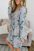 Crochet Detailed Floral Babydoll Dress - Icy Blue Multi