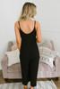 Button Down Cropped Crepe Jumpsuit - Black