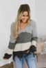 V-Neck Frayed Colorblock Sweater - Grey Combo - FINAL SALE