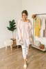 V-Neck Ribbed Knit Slouchy Sweater - Pale Pink