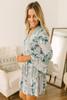 V-Neck Tiered Contrast Floral Dress - Grey Multi