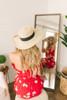 Off the Shoulder Ruched Floral Romper - Red Multi