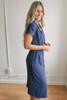 Short Sleeve Retro Midi Wrap Dress - Navy  - FINAL SALE