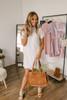 High Neck Scalloped Lace Shift Dress - Off White