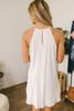 High Neck Crochet Detail Dress - Off White