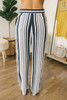 Beach Retreat Tie Waist Striped Pants - Navy Multi - FINAL SALE