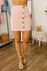 Asymmetrical Button Down Lined Skirt - Pink