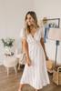 Faux Wrap Ruffle Midi Dress - Beige/White