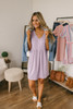 Short Sleeve Henley Babydoll Dress - Lilac