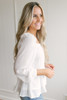 Square Neck Button Down Peplum Top - Off White - FINAL SALE
