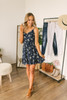 Everly Tie Strap Floral Dress - Navy Multi