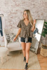 Button Down Leopard Knot Top - Brown Multi